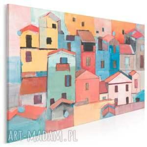 obraz na płótnie - domki kolorowy miasto 120x80 cm 703601, dom