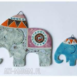 hand-made ceramika zestaw słoni indyjskich na ścianę