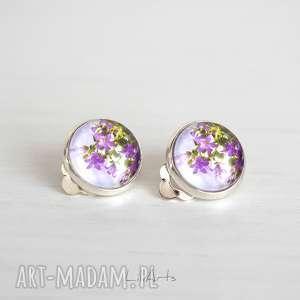 klipsy - fioletowe kwiaty małe, klipsy, romantyczne, kwiaty, unikatowe