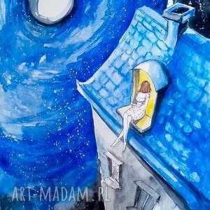 dekoracje księżycowa dziewczyna akwarela artystki adriany laube, akwarela, noc