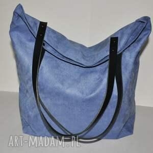 torba tote xxl - szaroniebieska, tote, na ramię, worek, alcala, eko zamsz