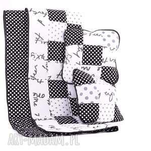Narzuta GROSZKOWO 88x140cm 2 poduszki Komplet BLACK od majunto, narzuta-dziecięca