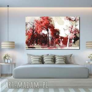 obraz xxl DRZEWO 25 - 120x70cm na płótnie, obraz, drzewo, czerwone