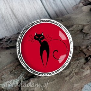 Prezent czarny kot - broszka z kotem, kocur, kociak, pupil, zwierzę, prezenty