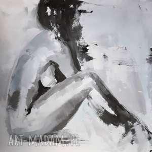 Akt pudrowy, duży-obraz, akt-obraz, kobieta-obraz, pudrowy-róż, pastelowy-obraz,