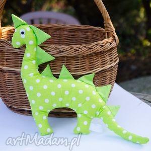 Wesoły zielony Pan Dinozaur w groszki - ,dinozaur,groszki,dziecko,maskotka,przytulanka,