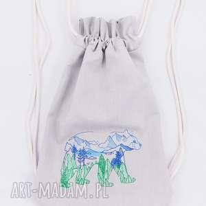 plecak worek z niedźwiedźiem - ,plecak,worek,miś,góry,las,niedźwiedź,