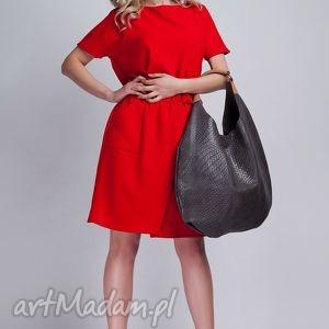 sukienka, suk117 czerwony, casual, kokardka, kieszenie, czerwona, midi