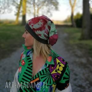 czapka ręcznie farbowana na podszewce, czapka, etno, boho, długa, kolorowa, rower