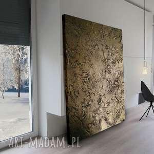 Efektowny metaliczny obraz do salonu grubo fakturowany, obrazy-do-salonu