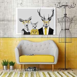 Nowoczesny obraz drukowany na płótnie - 120x80 cm rodzina jeleni