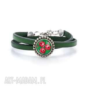 bransoletka z rzemienia - haftowana róża, folk, ludowa