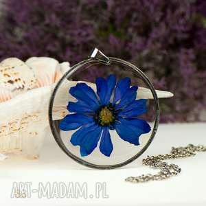 z83 naszyjnik z prawdziwych kwiató w żywicy - naszyjnik z kwiatem, bizuteria z