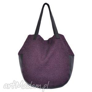 na ramię 24-0015 fioletowa torebka damska worek / torba studia swallow, duże