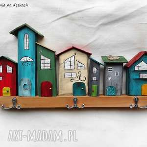 kolorowe domki - wieszak, domki, na-ścianę, drewno, kolorowe,