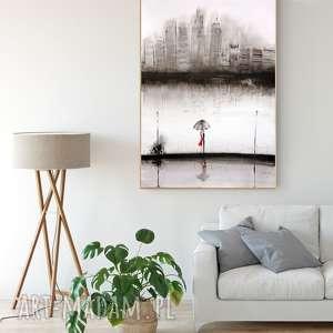 grafika wykonana na zamówienie 70 x 100 cm z cyklu Rain., minimalizm