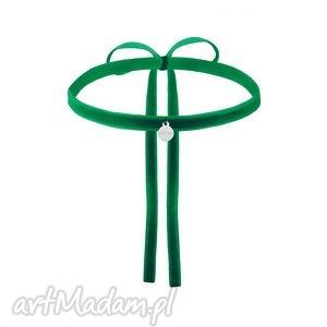 zielony aksamitny choker ze srebrną zawieszką - srebrne, aksamitka