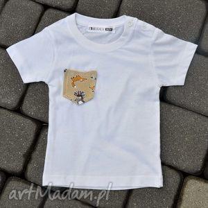 Koszulka z kieszonką APACZE, koszulka, kieszonka, nadruk, bawełna, eko, liski