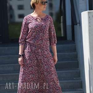 w malinowym ogrodzie-sukienka, boho sukienka, maxi kolorowa sukienka