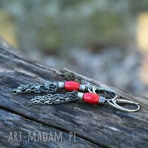 kolczyki z koralem ii, koral, koralem, srebrne kolczyki