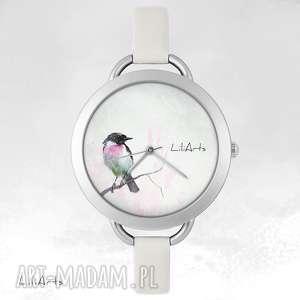 zegarek, bransoletka - ptaszek, bransoletka, skórzana, grafika, ptak