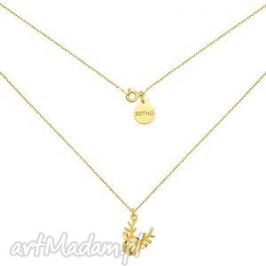 złoty naszyjnik z reniferkiem sotho - świąteczny, minimalistyczna