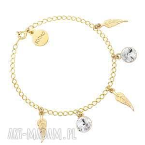 złota bransoletka z piórkami i bezbarwnymi kryształami, kryształy