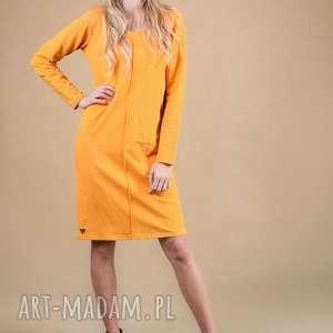 sukienka klasyczna z przeszyciem-musztardowa, sukienka, bluzka, kurtka, bluza