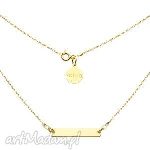 złoty naszyjnik z prostokątną blaszką - łańcuszkowy