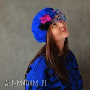 czapki beret kobaltowy, beret, niebieski, wełna