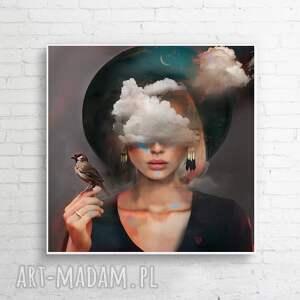 poka mi niebo 100x100 cm, obraz, chmury, ptaki, dekoracje, dodatki