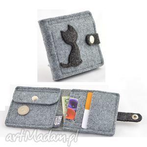portfele portfel mini z kotem - filc, portfel, mały, portmonetka, kot, kolek, filcowy