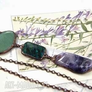 Secesyjny wisiorek z łańcuszkiem: fioletowo - zielony naszyjniki