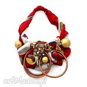 old gold naszyjnik handmade - naszyjnik, handmade, czerwony, kolorowy, złoty