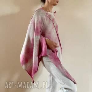 ręczne wykonanie swetry ponczo z baby alpaki róż&beż