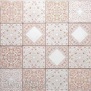 Kafle XL białe arabeski, zestaw 16 sztuk, kafle, dekory, płytki, ścienne