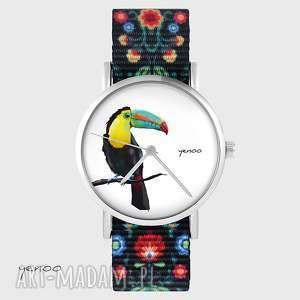 handmade zegarki zegarek - tukan folk czarny, nato
