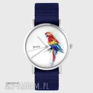 zegarek yenoo - czerwona papuga granatowy, nato, zegarek, pasek