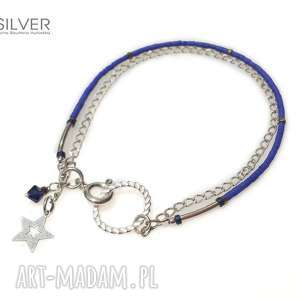 kobaltowa nić bransoletka, kobalt, srebro, prezent, świąteczny, bernaś