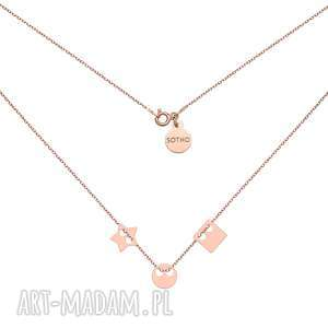 naszyjniki naszyjnik z różowego złota trzema zawieszkami, naszyjnik, karma, kwadrat