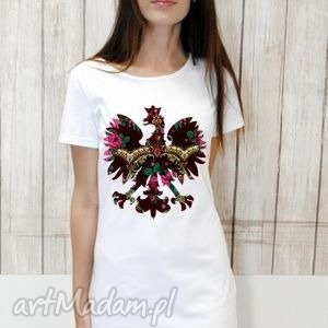 sukienki t-shirt dress pl summer white s/m, sukienka, orzeł, folklor, tshirt
