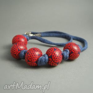 w kropki, korale z polymer clay - korale, kropki, czerwony, granatowy, modelina, fimo