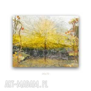 obraz na płótnie drzewa słońca 90x70, drzewa, obraz, złoty, żółty