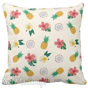 poduszka dekoracyjna ananasy kokosy tropic 6519, tropic, anans, kokos, tropikalne