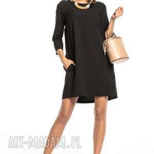 sukienki sukienka marszczona na plecach z kieszeniami, t326, czarna