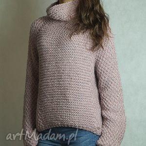 Różowy z alpaką, sweter, pudrowy, golf, alpaka, półgolf