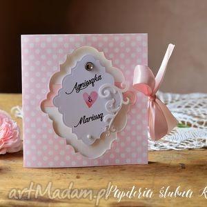 Zaproszenie Ślubne różowe- groszki, zaproszenia, ślub, róż