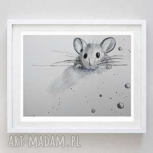 mysz akwarela,abstrakcja formatu 18/24 cm, mysz, papier, akwarela, zwierzęta