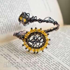 sunflower - bransoletka ze szklanymi kryształkami, bransoletki z miedzi