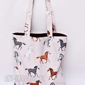handmade torba na zakupy shopperka ekologiczna zakupowa ramię bawełniana konie koń konik
